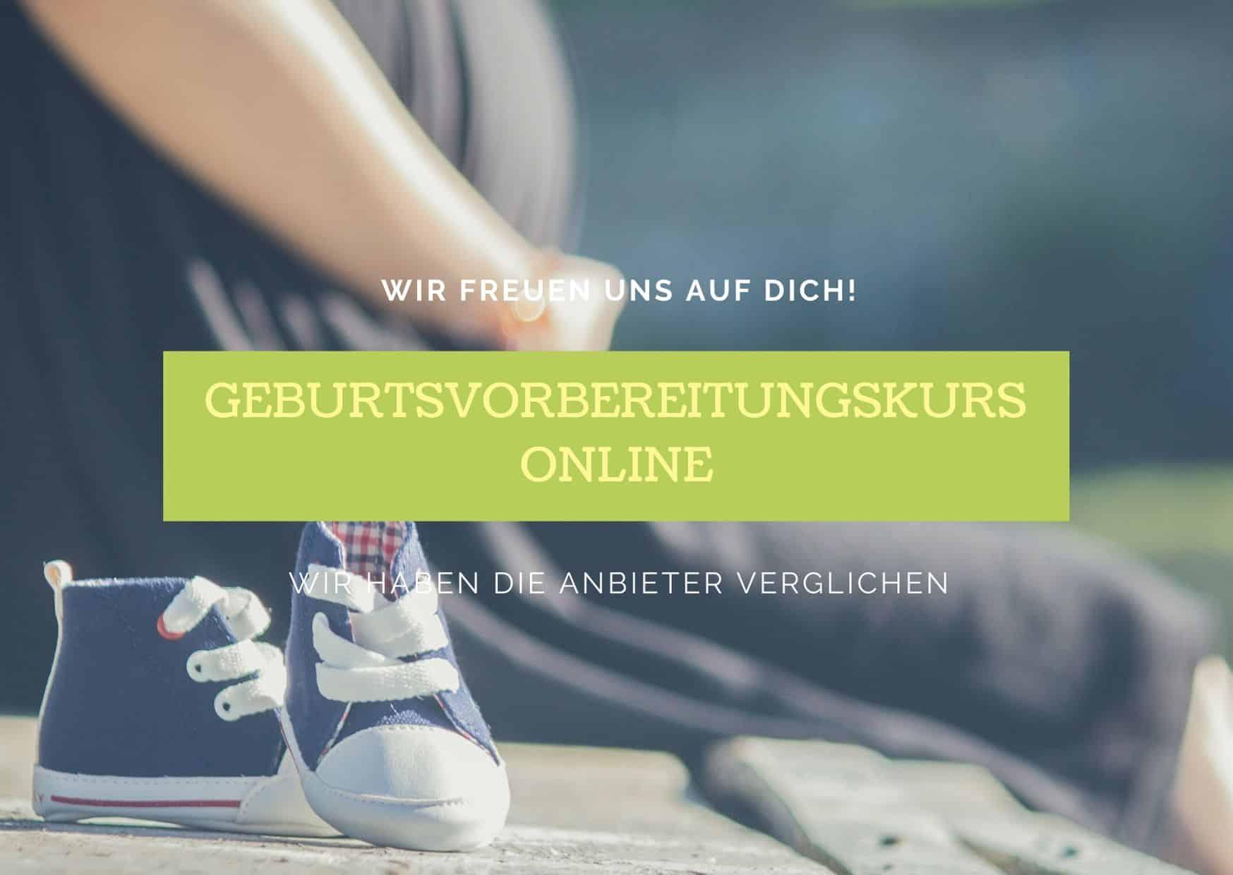 Titelbild - Babyschuhe und schwangere Frau. Geburtsvorbereitungskurs online - Die Anbieter im Vergleich.