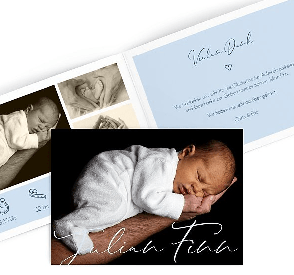 Danksagung zur Geburt - So könnte deine Babykarte aussehen.