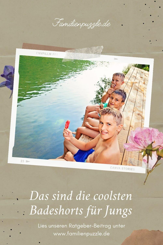 Eine schicke Badeshorts für Jungen - und der Sommer kann kommen! Auf dem Foto: Jungs sitzen am Wasser und essen ein Eis.