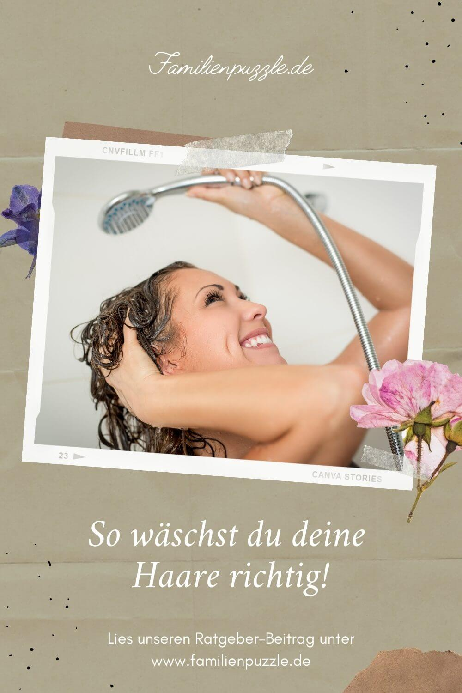 So wäschst du deine Haare richtig! Auf dem Foto: Eine Frau wäscht sich die Haare.