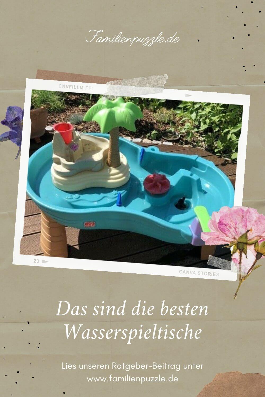 Wasserspieltische erfreuen Kinder ab einem Jahr. Es können ganze Szenarien gespielt werden. Ideal für den Garten. Auf dem Foto: Ein Wassertisch mit Insel.