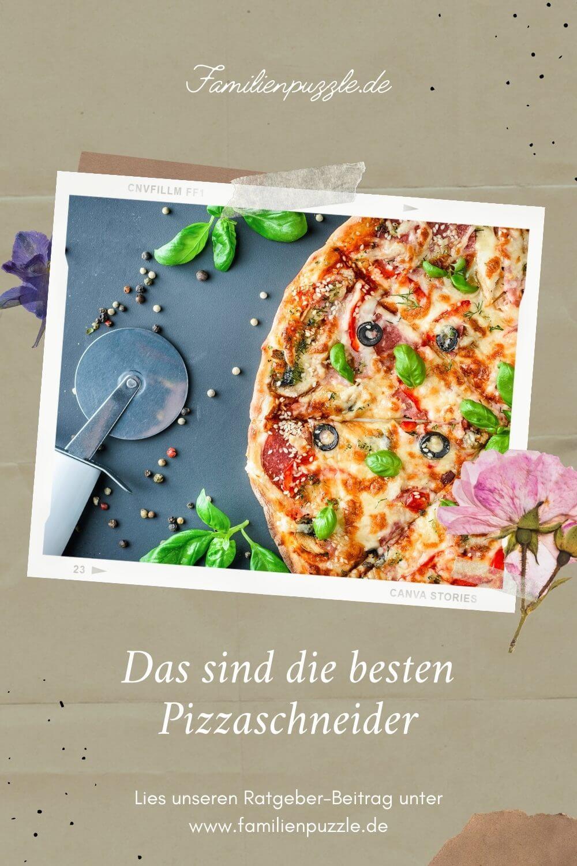 Fast alle lieben Pizza. Um eine Pizza richtig zu schneiden, bietet sich ein Pizzaschneider an. Auf dem Foto: Ein Pizzaschneider neben einer Pizza.