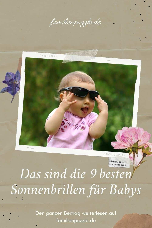 Sonnenbrille für dein Baby. Auf dem Foto: Ein Baby mit Sonnenbrille.
