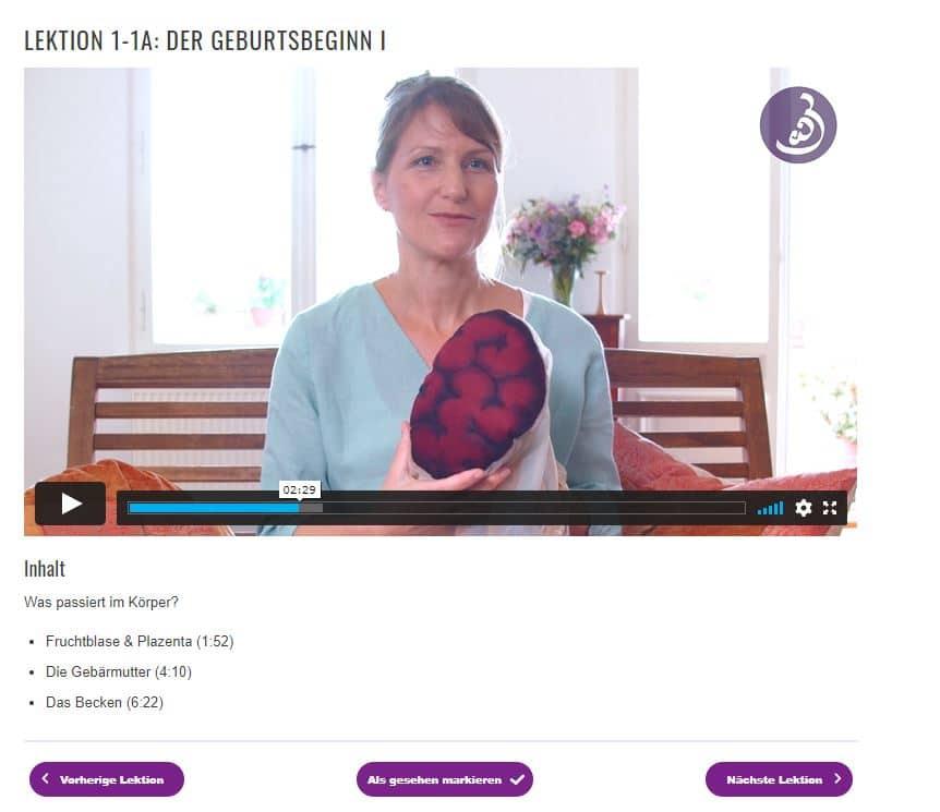 Online Geburtsvorbereitungskurs für Zwillinge: Ein Einblick in eine der Lektionen.